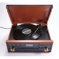 Lecteur Musique BIG BEN TD113SPS Tourne Disque Radio-CD-USB-MP3-Cassette - 3 vitesses - 33-45-78 tours - Affichage LCD - Bass Boost - Couleur Bois