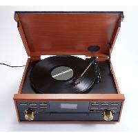 Lecteur Musique BIG BEN TD113SPS Tourne Disque Radio-CD-USB-MP3-Cassette - 3 vitesses : 33/45/78 tours - Affichage LCD - Bass Boost - Couleur Bois