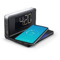 Lecteur Musique HCG018Qi/b Radio reveil  avec chargeur rapide Qi sans fil et sortie USB