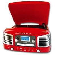 Lecteur Musique INOVALLEY RETRO-03N Chaîne Hifi vinyle style rétro avec encodage - Lecteur CD / FM - Rouge