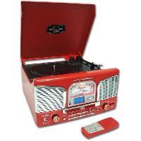 Lecteur Musique INOVALLEY RETRO03N BTH Chaîne Hifi vinyle style rétro avec encodage - Lecteur CD / FM - Rouge