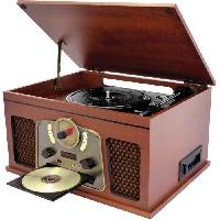 Lecteur Musique INOVALLEY RETRO10E-BTH-N - Chaine Hi-fi retro - Connectivite bluetooth. USB. Vinyles. CD. K7 audio. Radio FM. Aux-In - Bois vieilli
