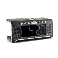 Lecteur Musique Radio-reveil avec syntoniseur FM AUX et bloc de chargement sans fil QI - Caliber