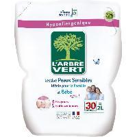 Lessive L'Arbre Vert Lessive Liquide Recharge pour Peau Sensible/Famille Hypoallergénique 30 Lavages 2 L