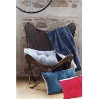 Linge De Lit Plaid MENUIRES 130x150cm - 100% Polyester - Bleu Prusse - Aucune