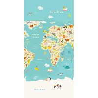Linge De Plage GOOD MORNING Serviette de plage Worldmap - 75 x 150 cm