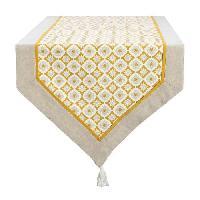 Linge De Table - Cuisine DEKOANDCO Chemin de table Camelia -45x150 cm - Finition pointe avec pompons amovibles- Imprime jaune - Deko & Co
