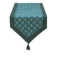 Linge De Table - Cuisine DEKOANDCO Chemin de table Riviera - 45x150 cm - Finition pointe avec pompons amovibles- Imprime vert - Deko & Co