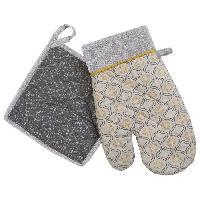 Linge De Table - Cuisine DEKOANDCO Gant et manique Rhodes - Imprime jaune et gris - Deko & Co