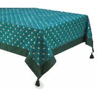 Linge De Table - Cuisine DEKOANDCO Nappe rectangulaire Riviera - 140x250 cm - 4 pompons amovibles- Imprime vert - Deko & Co