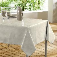 Linge De Table - Cuisine DOUCEUR D'INTERIEUR Nappe toile ciree Decor line Beton ciree 140x240 cm beige