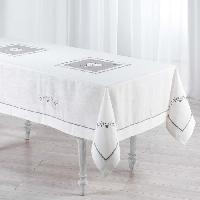 Linge De Table - Cuisine Nappe brodee Amandine 150x240 cm blanc
