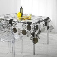Linge De Table - Cuisine Nappe imprimee cosmik Decor line Cristal 140x240 cm gris et noir