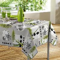 Linge De Table - Cuisine Nappe toile ciree Decor line Photoprint garden zen 140x240 cm gris