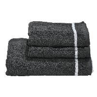 Linge De Toilette DONE Daily Shapes 1 STAR 2 serviettes de toilette + 1 drap douche - Anthracite et Blanc
