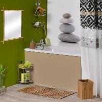 Linge De Toilette Eponge de bain Ramie avec manche en bois - H41 x l10 x P4 cm - Blanc et vert - Aucune