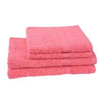 Linge De Toilette JULES CLARYSSE Lot de 2 serviettes 50x100 cm + 2 draps de bain 70x140 cm ELEGANCE Corail