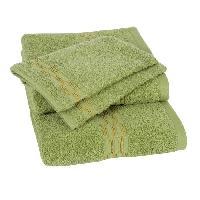 Linge De Toilette Lot de 1 drap 70x140 cm + 1 serviette 50x100 cm + 2 gants 15x21 cm Yeni vert