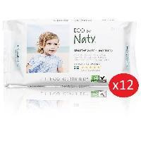Lingettes Bebe NATY - Lot de 12 paquets de Lingettes douces eco sans parfum - 56 pcs