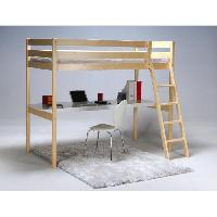 Lit ASPEN Lit mezzanine enfant avec sommier contemporain en bois epicea massif vernis nature - l 90 x L 190 cm
