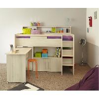 Lit Combine DAVE Lit combine enfant avec bureau contemporain - Decor chene acacia clair - Sommier inclus - l90 x L200 cm - Generique
