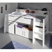 Lit Combine DAVE Lit combiné enfant avec bureau contemporain décor blanc - Sommier inclus -l90 x L200 cm Generique