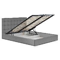 Lit Combine Lit coffre adulte ORVO avec sommier contemporain en bois massif gris avec pieds en metal chrome - l 148 x L 204 cm