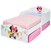Lit Combine Minnie Mouse - Lit enfant en bois 140 70 cm avec tiroirs de rangement sous le lit - Worlds Apart