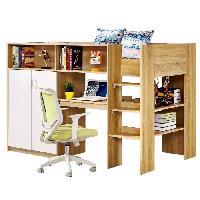 Lit Combine SYLVAIN Lit combine enfant avec sommier contemporain coloris naturel et blanc + bureau et armoire - l 90 x L 190 cm