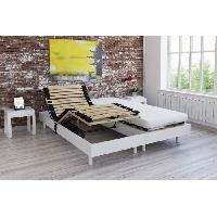 Lit Ensemble relaxation matelas + sommiers electriques decor blanc satine 2x80x200 - Mousse - 14 cm - Ferme - TALCA