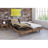 Lit Ensemble relaxation matelas + sommiers electriques decor chene 2x80x200 - Mousse - 14 cm - Ferme - TALCA