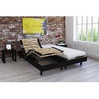 Lit Ensemble relaxation matelas + sommiers electriques decor wenge 2x80x200 - Mousse - 14 cm - Ferme - TALCA