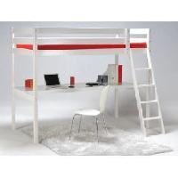 Lit Mezzanine ASHTON Lit mezzanine enfant contemporain en bois epicea massif verni blanc + sommier - l 90 x L 190 cm - Generique