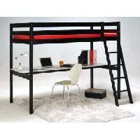 Lit Mezzanine ASHTON Lit mezzanine enfant contemporain en bois epicea massif verni noir + sommier - l 90 x L 190 cm - Generique