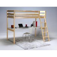 Lit Mezzanine ASPEN Lit mezzanine enfant avec sommier contemporain en bois epicea massif vernis nature - l 90 x L 190 cm