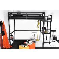 Lit Mezzanine GRAFIK Lit mezzanine adulte avec sommier + bureau contemporain en metal laque epoxy anthracite - l 140 x L 190 cm - Generique