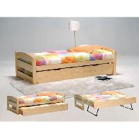 Lit THOMAS Lit gigogne contemporain en bois epicea massif vernis naturel + pieds en metal + sommiers - l 90 x l 190 cm