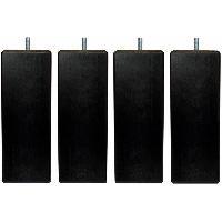 Literie Jeu de pieds carrés L 5.4 cm x l 5.4 cm H 14.5 cm - Noir - Lot de 4