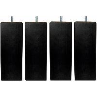 Literie Jeu de pieds carrés L 6 cm x l 6 cm H 19 cm - Noir - Lot de 4