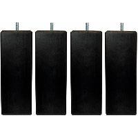 Literie Jeu de pieds carrés L 6 x l 6 x H 24.5 cm Noir - Lot de 4