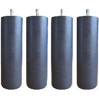 Literie Jeu de pieds cylindriques Ø 6.2 cm H 19 cm Gris anthracite - Lot de 4