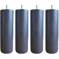Literie Jeu de pieds cylindriques Ø 6.2 cm H 24.5 cm Gris anthracite - Lot de 4