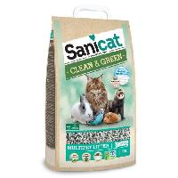 Litiere Minerale - Silice - Argile SANICAT Litiere Clean et Green Cellulose 10L - Pour chat