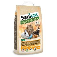 Litiere Minerale - Silice - Argile SANICAT Litiere Clean et Green Wood 20L - Pour chat
