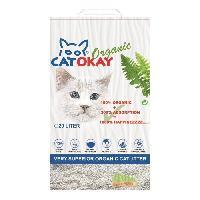 Litiere Vegetale - Fibre - Paille - Chanvre - Copeaux - Cellulose - Mais VADIGRAN Litiere organique CatOkay - 20L - 11 kg - Pour chats