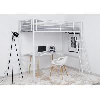 Lits Superposes FINLANDEK Lit mezzanine enfant LEIJONA avec sommier - Style contemporain - En tubes d'acier laqués époxy blanc - l 90 x L 190 cm