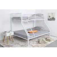 Lits Superposes FINLANDEK Lit superposé enfant LEIJONA contemporain en métal blanc - l 90 x L 190 cm et l 140 x L 190 cm