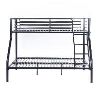 Lits Superposes Lit superpose adulte urbain en metal noir epoxy - Sommiers inclus - l 140 x L 190 cm et l 90 x L 190 cm - Generique