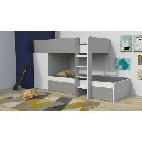 Lits Superposes TWIN Lit superposé enfant contemporain blanc et gris - l 90 x L 190 cm - Generique