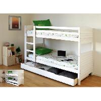 Lits Superposes WOOPI Lit superposé enfant mixte + tiroir en bois massif - Blanc - l 98 x L 198 cm - Generique